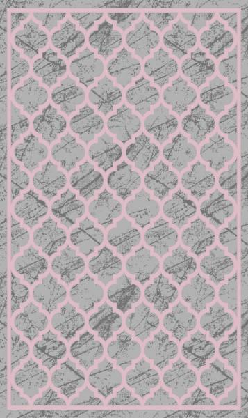 Merinos Line Design Teppich | Heatset | Modern | Rot Pink Grau