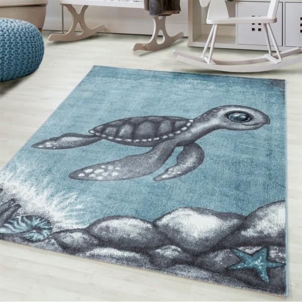 Ayyildiz | Turtle | Kinderteppich | 100% PP Frisee | 7 mm | 2300gr | Blau