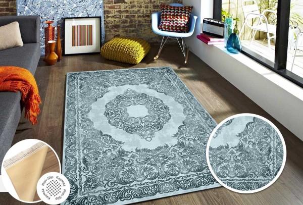 Siela   Waschbarer Teppich   Latex   100% Polyester   Blau   S-1510-Blue