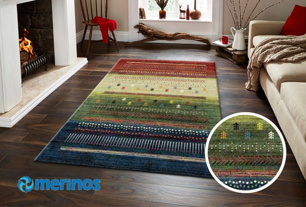 Merinos East Life Teppich   Mehrfarben Beige