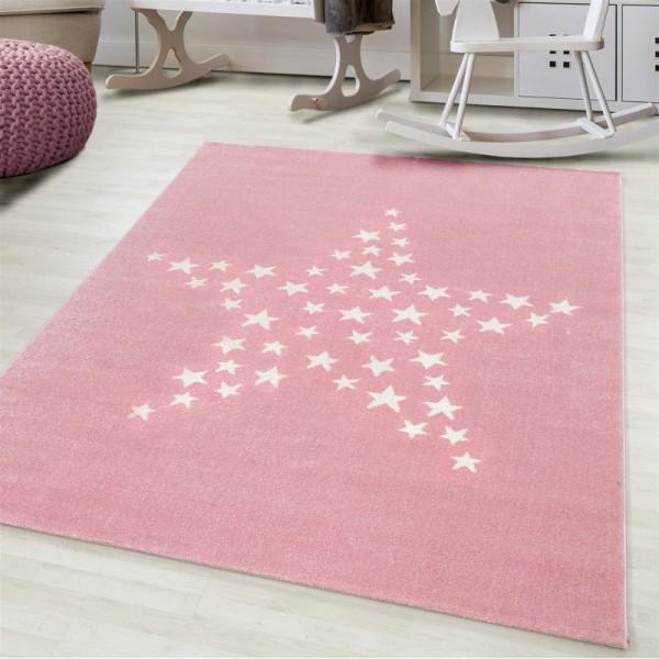 Ayyildiz | Stars | Kinderteppich | Stern Design | 100% PP Frisee | 7 mm | 2300gr | Pink