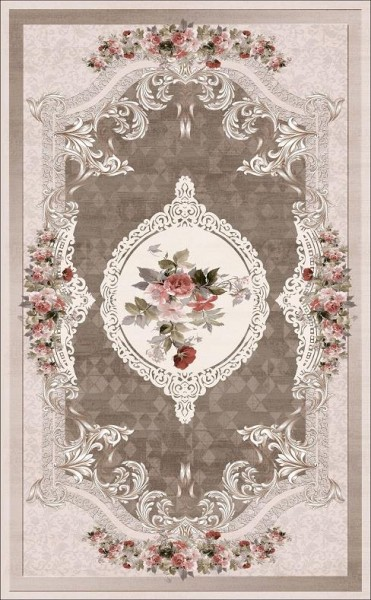 Dinarsu Summer Waschbarer Teppich | Beige Blau Grau Rose