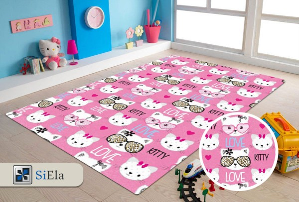 Siela Happy Kitty Abwaschbarer Kinderteppich | Pink