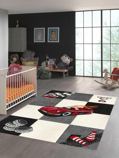 Merinos Teppich | Diamond Kids Rennauto | M-21833-695-Cream-Grey