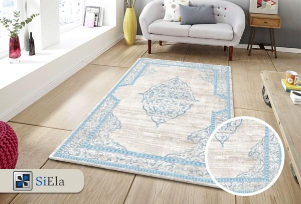 Siela Modern Abwaschbarer Teppich | Blau Braun