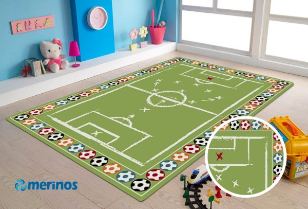 Merinos Football Time Kinderteppich | Grün