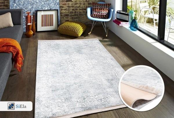 Siela | Elegance IV | Waschbarer Teppich | Latex | 100% Polyester | Grau