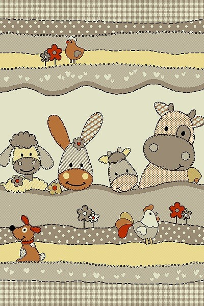 Merinos Art Kids Kinderzimmer Uni Teppich Bear Love |Multicolor Beige