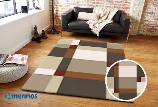 Merinos | Casa | Mosaik | Teppich | Beige | Grau | M-853