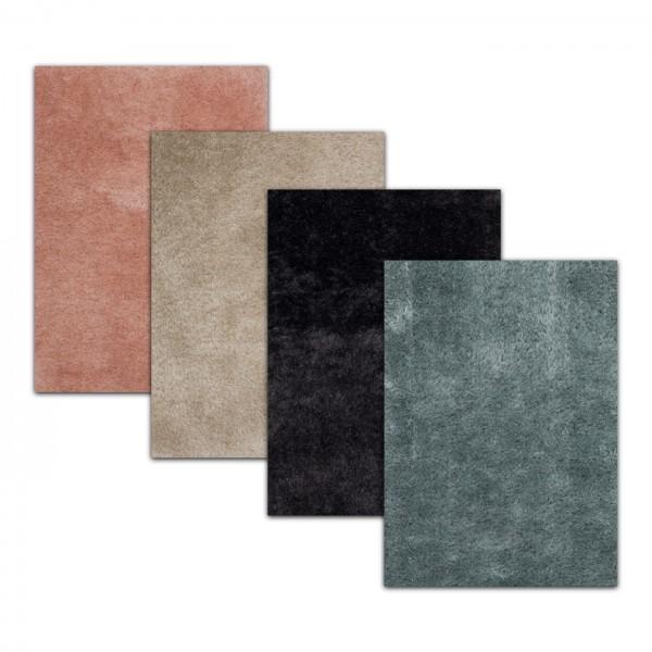 Merinos   Glossy   Teppich   Dekorativ   Federteppich   3 kg   7 mm   Grau & Blau & Aprikose & Sand