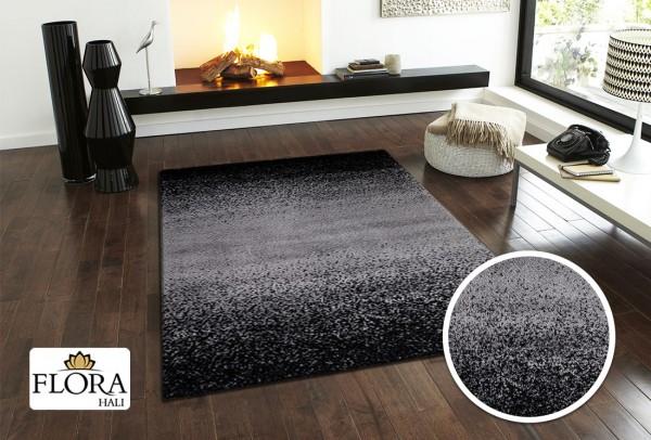 Flora Spacelight Collection Shaggy Teppich Polypropylen & Polyester   Schwarz Weiß
