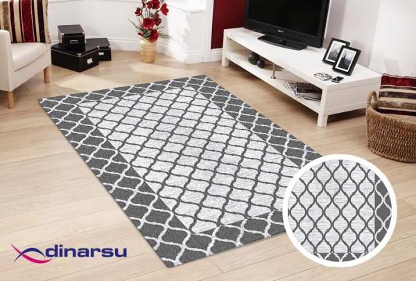 Dinarsu | Waschbare Teppiche | Grau