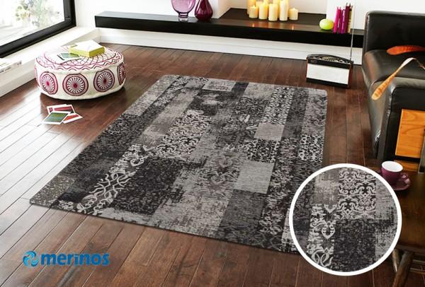 Merinos Luxury Plus Teppich | Grau Lila Türkis
