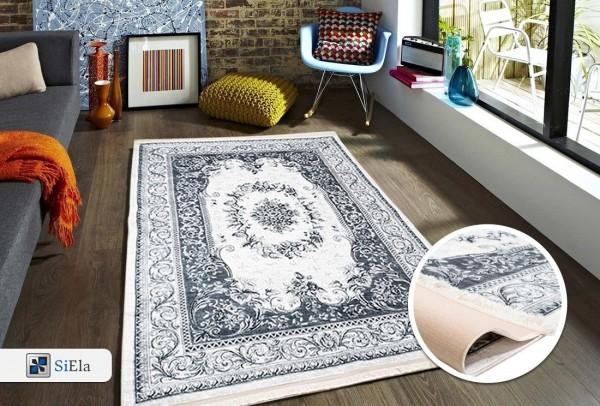 Siela | Elegance I | Waschbarer Teppich | Latex | 100% Polyester | Grau