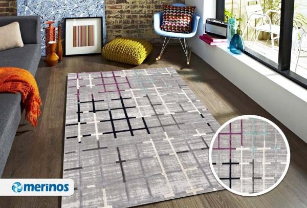 Merinos Line Design Teppich | Heatset | Modern | Grau