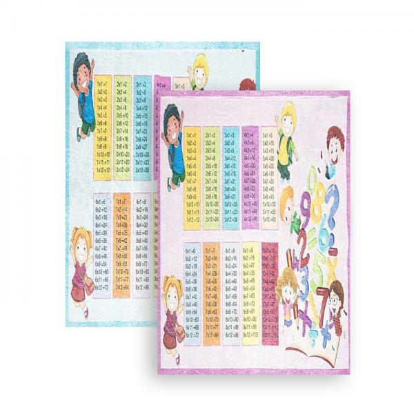Siela | Waschbarer Teppich | Kinderteppich | Mathematiktafel | Latex | 100% Polyester | Blau & Pink
