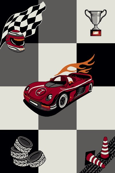 Merinos Art Kids Kinderzimmer Jungen Teppich Race Car |Multicolor