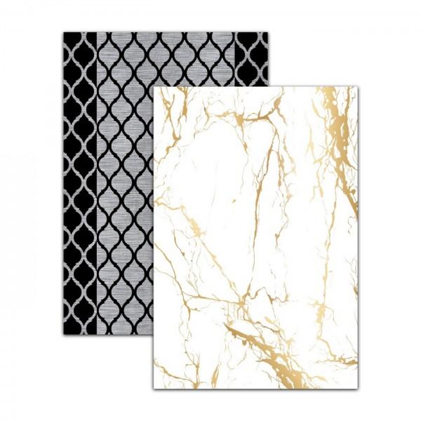 Dinarsu   Sunshine Series   Abwaschbarer Teppich   Polyester   Schwarz & Gold