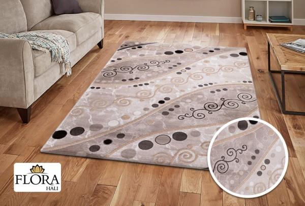 Flora Eleysa Collection Teppich | Polypropylen | Lurex Heatset | Creme Weiß Grau Braun