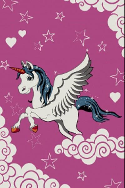 Merinos Art Kids Kinderzimmer Mädchen Teppich Sky Horse |Pink