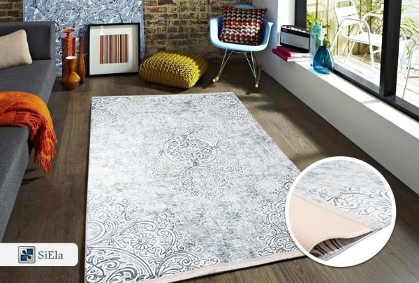 Siela | Elegance II | Waschbarer Teppich | Latex | 100% Polyester | Grau