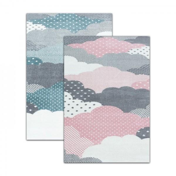 Ayyildiz | Clouds | Kinderteppich | 100% PP Frisee | 7 mm | 2300gr | Blau & Pink