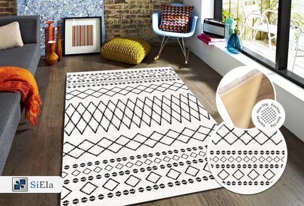 Siela | Waschbarer Teppich | Latex | 100% Polyester | Weiß | S-1707-White