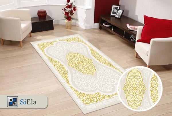 Siela File Road Teppich | Gold Vizon Grau Pink