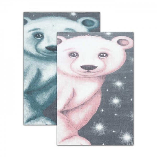 Ayyildiz | Kinderteppich | Teddybär Design | 100% PP Frisee | 7 mm | 2300gr | Blau & Rosa