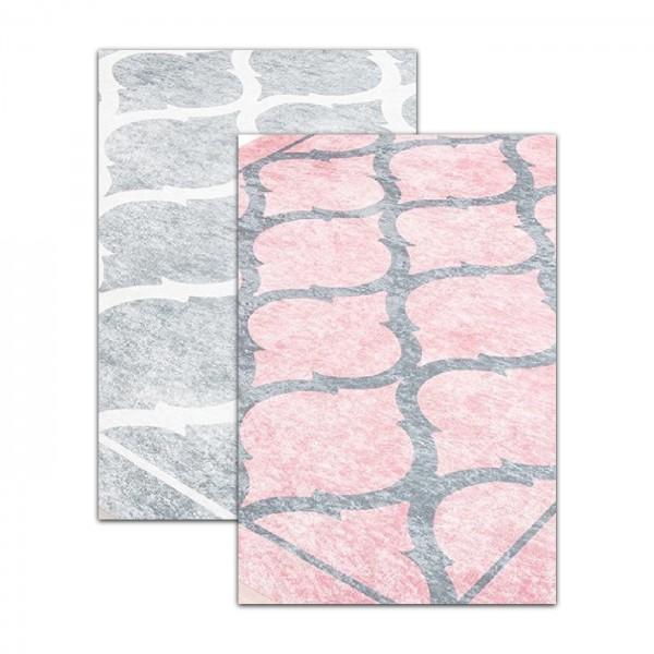 Siela | Waves | Waschbare Latex Teppiche | Grau Pink