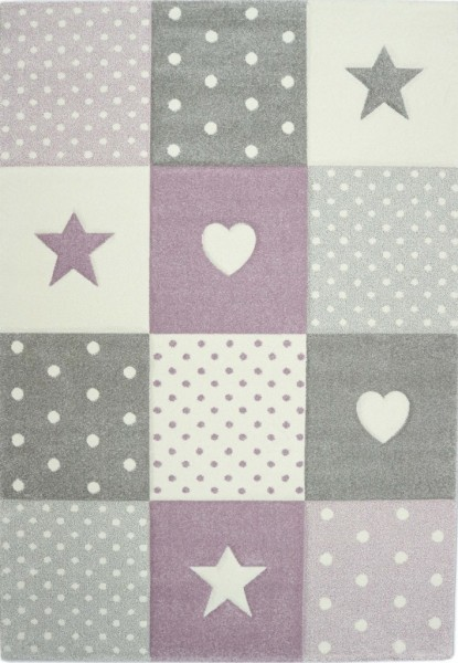 Merinos Just Kids Uni Teppich Star Love |Lila Pink Blau Grün Multicolor