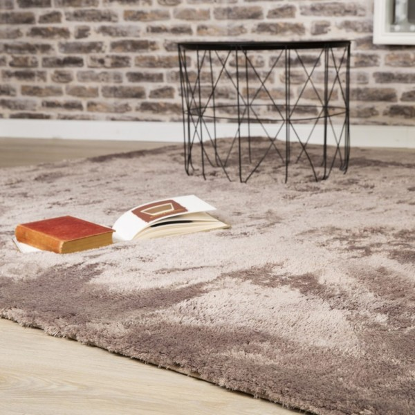 Obsession Star Road Hochflor Teppich | Pink Taupe Creme Silver Petrol Grau