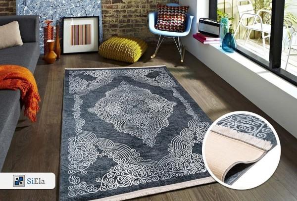 Siela | Elegance III | Waschbarer Teppich | Latex | 100% Polyester | Grau