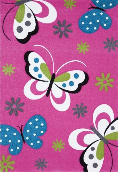 Merinos Art Kids Kinderzimmer Mädchen Teppich Butterfly Baby |Pink Grün Weiß Multicolor