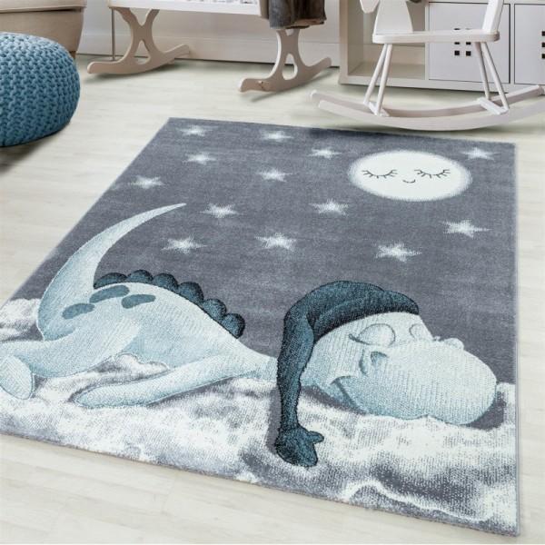 Ayyildiz | Sleepy Dino | Kinderteppich | 100% PP Frisee | 7 mm | 2300gr | Blau
