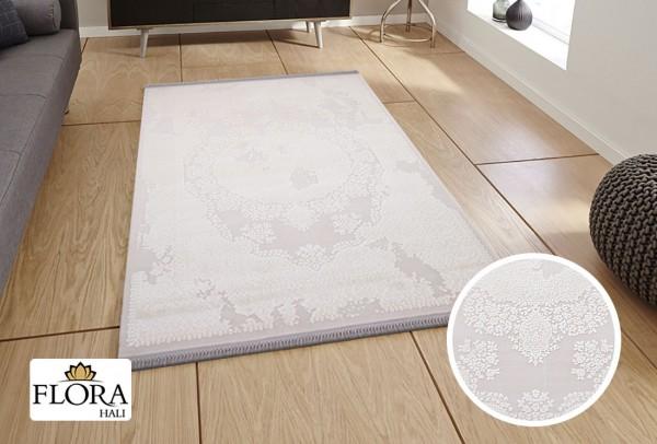 Flora Lavanta Collection Teppich Polyacryl | Grau Weiß