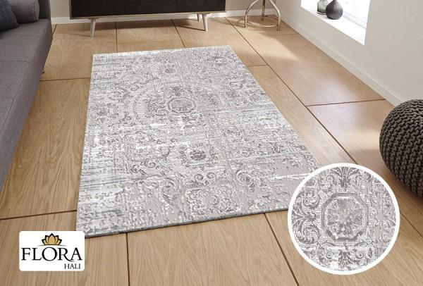 Flora Lavanta Collection Teppich Polyacryl | Crema Grau