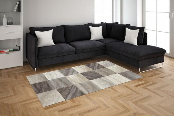 Merinos | Domino | Teppich | Quadratmuster | Beige-Grau