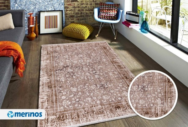 Merinos | Leaf | Moderner Teppich | Polyacryl & Chenillegarn | 7 mm | 2,9 kg | Beige