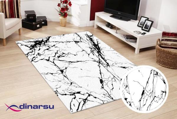 Dinarsu | Sunshine | Marmor | Waschbare teppiche | Weiß