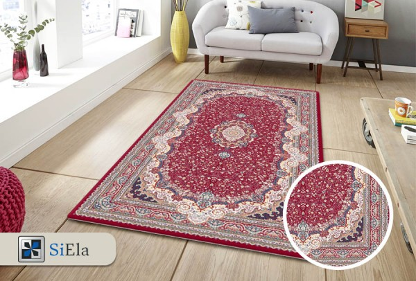 Siela Modern Abwaschbarer Teppich | Rot
