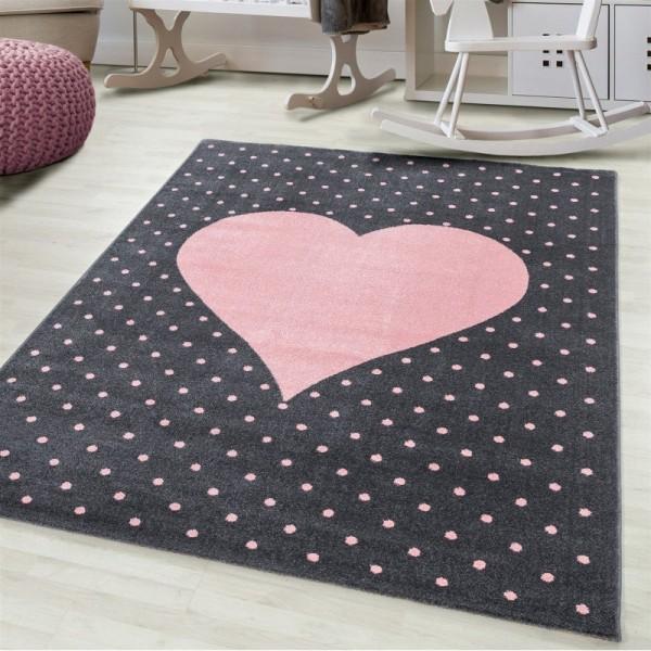 Ayyildiz | Heart | Kinderteppich | Herz Design | 100% PP Frisee | 7 mm | 2300gr | Pink